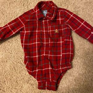 Baby Gap boy Brannon bear plaid bodysuit